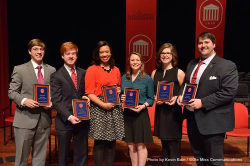 The Six Lott Leadership Institute members inducted into the Ole Miss Hall of Fame; From L-R; Phillip Waller, Rob Barber, Briana O'Neil, Anna Suggs, Christine Dickason, Channing Landsdell (Photo Courtesy- Kevin Bain, Ole Miss Communications)