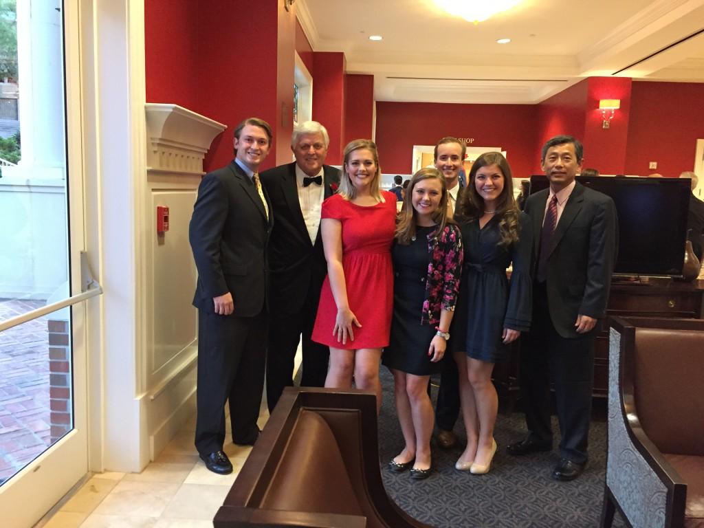 (Left to Right)- Rob Pillow, Fmr. Chancellor Robert Khayat (Hall of Fame Inductee), Hannah Aldrich, Jessica Brouckaert, Rod Bridges, Jennifer Hicks, Dr. Mark Chen